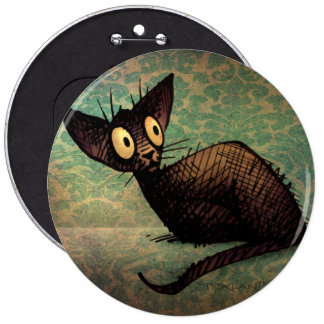 Cute Black Oriental Cat Pinback Buttons