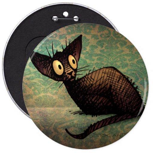 Cute Black Oriental Cat Pinback Buttons