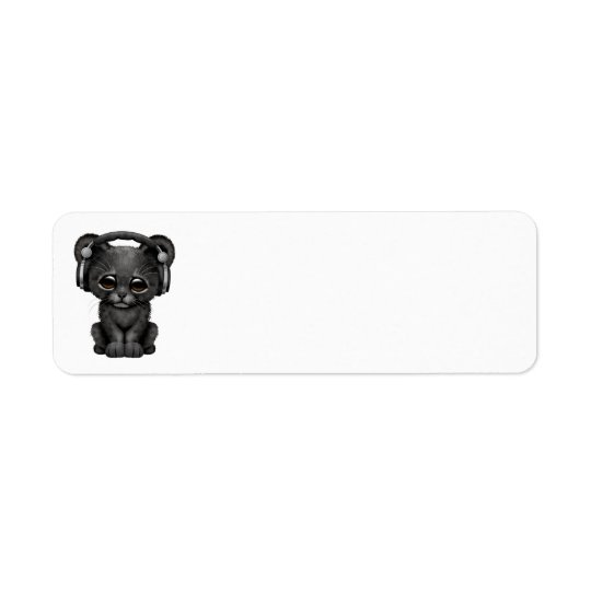 Cute Black Panther Cub Dj Wearing Headphones Return Address Label