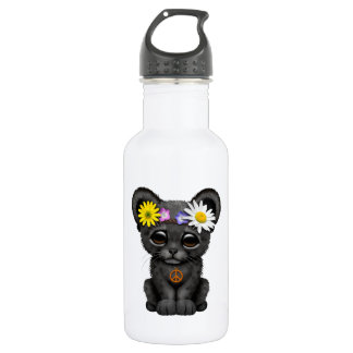 Cute Black Panther Cub Hippie 532 Ml Water Bottle