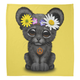 Cute Black Panther Cub Hippie Bandana
