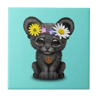 Cute Black Panther Cub Hippie Ceramic Tile