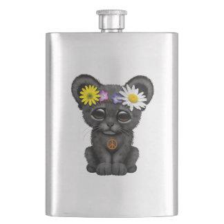 Cute Black Panther Cub Hippie Hip Flask