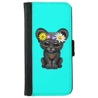 Cute Black Panther Cub Hippie iPhone 6 Wallet Case