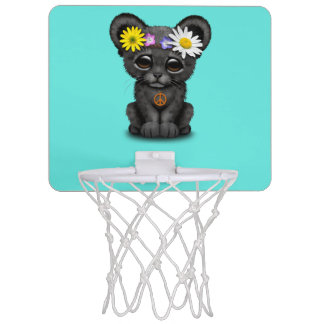Cute Black Panther Cub Hippie Mini Basketball Hoop