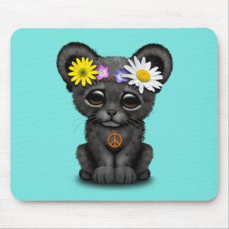 Cute Black Panther Cub Hippie Mouse Pad
