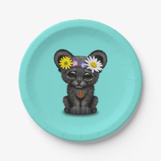 Cute Black Panther Cub Hippie Paper Plate