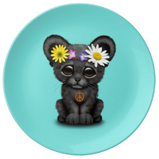 Cute Black Panther Cub Hippie Plate