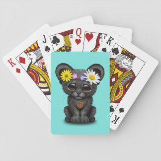 Cute Black Panther Cub Hippie Playing Cards