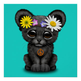 Cute Black Panther Cub Hippie Poster