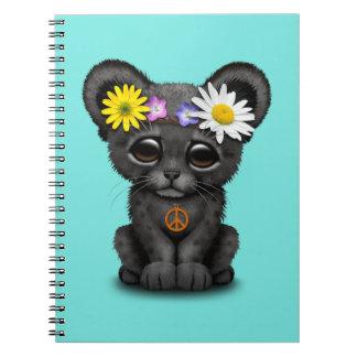 Cute Black Panther Cub Hippie Spiral Notebook