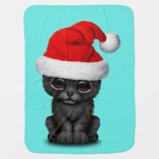 Cute Black Panther Cub Wearing a Santa Hat Baby Blanket