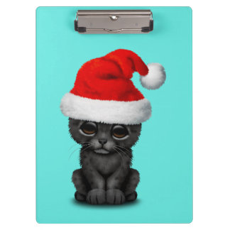Cute Black Panther Cub Wearing a Santa Hat Clipboard