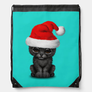 Cute Black Panther Cub Wearing a Santa Hat Drawstring Bag