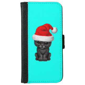 Cute Black Panther Cub Wearing a Santa Hat iPhone 6 Wallet Case