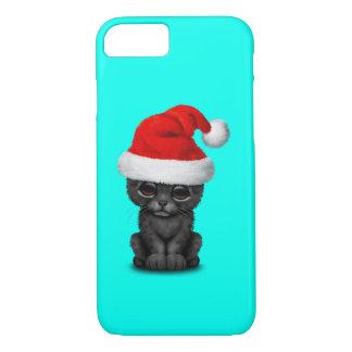 Cute Black Panther Cub Wearing a Santa Hat iPhone 8/7 Case