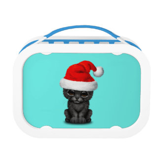 Cute Black Panther Cub Wearing a Santa Hat Lunch Box