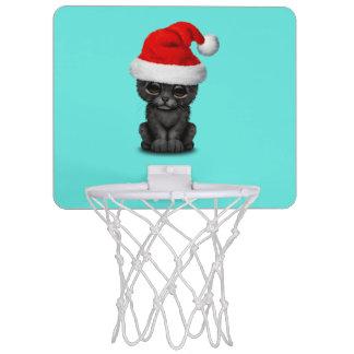 Cute Black Panther Cub Wearing a Santa Hat Mini Basketball Hoop