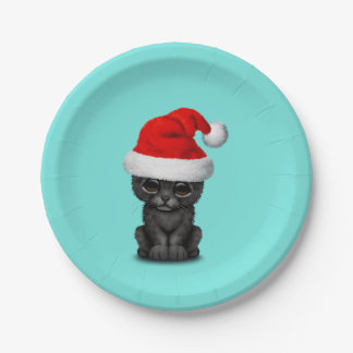 Cute Black Panther Cub Wearing a Santa Hat Paper Plate