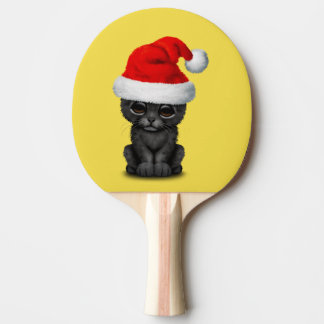 Cute Black Panther Cub Wearing a Santa Hat Ping Pong Paddle