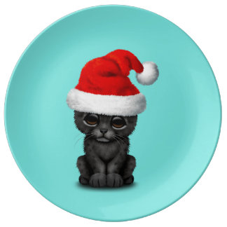 Cute Black Panther Cub Wearing a Santa Hat Plate