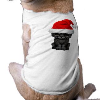 Cute Black Panther Cub Wearing a Santa Hat Shirt