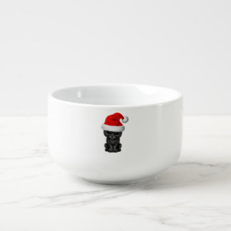 Cute Black Panther Cub Wearing a Santa Hat Soup Mug
