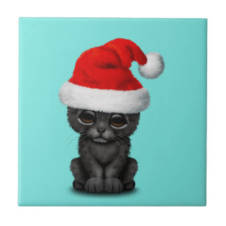Cute Black Panther Cub Wearing a Santa Hat Tile