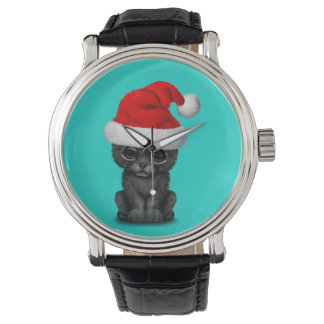 Cute Black Panther Cub Wearing a Santa Hat Watch