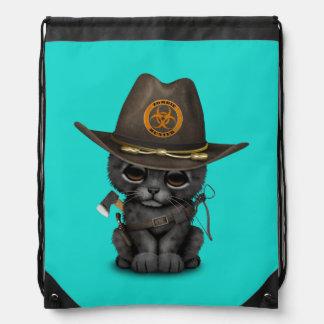 Cute Black Panther Cub Zombie Hunter Drawstring Bag