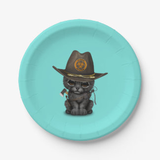 Cute Black Panther Cub Zombie Hunter Paper Plate