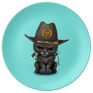 Cute Black Panther Cub Zombie Hunter Plate