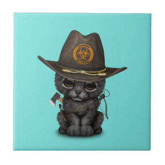 Cute Black Panther Cub Zombie Hunter Tile