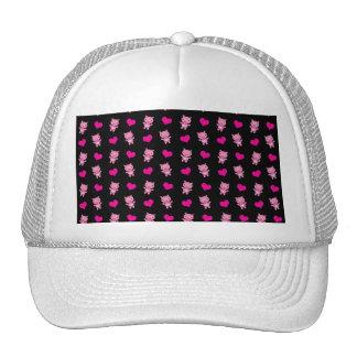 Cute black pig hearts pattern trucker hat