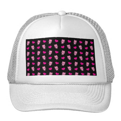 Cute black pig hearts pattern hat