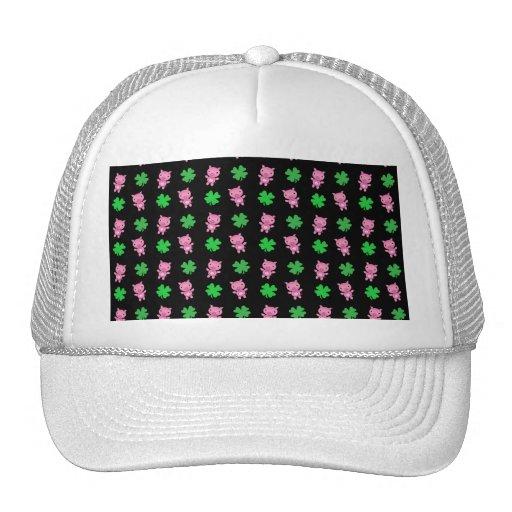 Cute black pig shamrocks pattern mesh hats