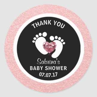 Cute Black Pink Baby Feet Baby Shower Girl Favor Round Sticker
