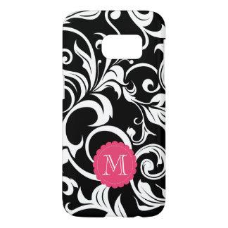 Cute Black Pink Floral Wallpaper Swirl Monogram