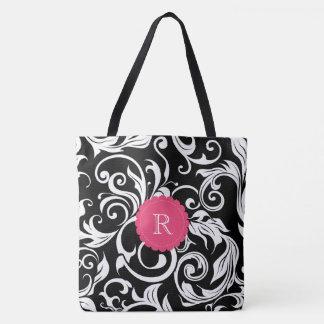 Cute Black Pink Floral Wallpaper Swirl Monogram Tote Bag