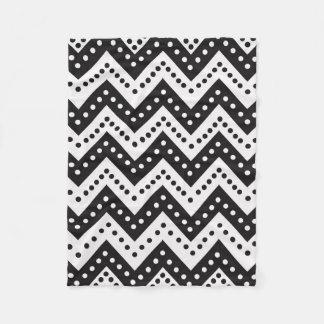 Cute Black Polkadot Zigzags Fleece Blanket
