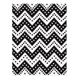 Cute Black Polkadot Zigzags Postcard