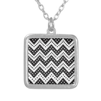 Cute Black Polkadot Zigzags Silver Plated Necklace