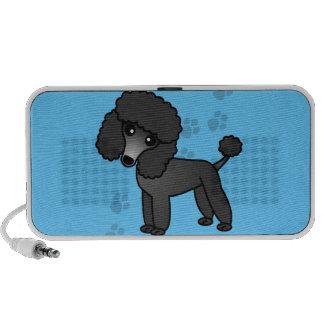 Cute Black Poodle Cartoon Blue Paw Print iPod Speakers