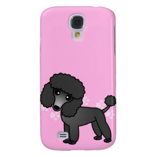 Cute Black Poodle Cartoon - Pink Paw Samsung Galaxy S4 Cases
