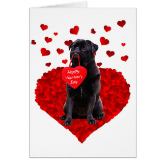 Cute Black Pug wishing Happy Valentine's day Card