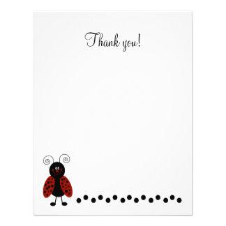 Cute Black Red Ladybug Flat Thank you card Invites