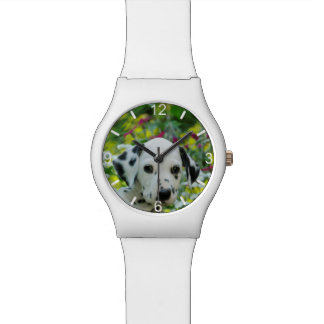 Cute black spotted Dalmatian Dog Puppy  dial-plate Watch