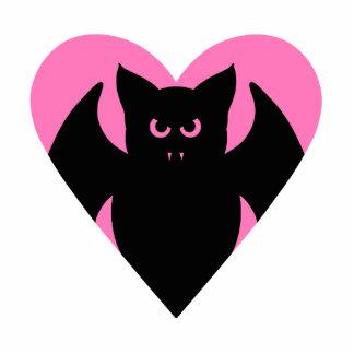 Cute black vampire bat in pink heart photo cutouts