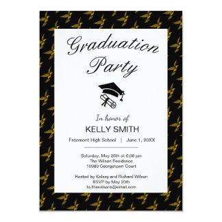 Cute black vintage gold eagle graduation party card