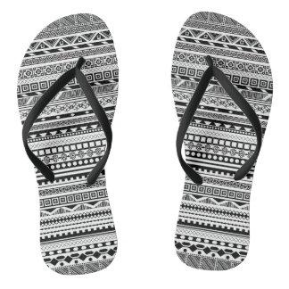 Cute black white aztec patterns design thongs